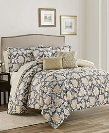 Alexandra Floral  10-Piece Reversible Full/Queen Comforter Set