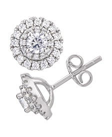 Certified Diamond 1 ct. t.w. Halo Stud Earrings in 14k White Gold