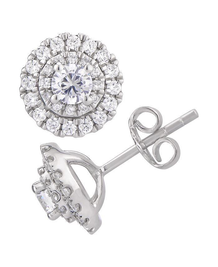 Macy's - Certified Diamond 1 ct. t.w. Halo Stud Earrings in 14k White Gold