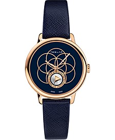 Women's Swiss Seed Of Life Blue Leather Strap Watch 36mm