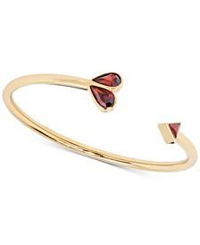 Gold-Tone Crystal Heart Cuff Bracelet