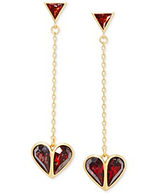 Crystal Heart Linear Drop Earrings