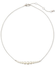 "Silver-Tone Imitation Pearl Collar Necklace, 17"" + 3"" extender"
