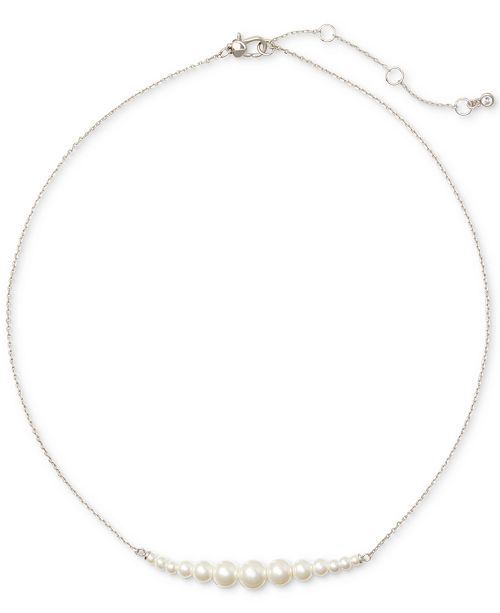 """kate spade new york Silver-Tone Imitation Pearl Collar Necklace, 17"""" + 3"""" extender"""