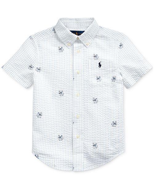 Polo Ralph Lauren Toddler Boys Anchor-Print Cotton Seersucker Shirt