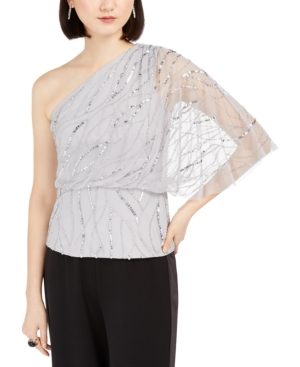 Adrianna Papell PETITE BEADED ONE-SHOULDER BLOUSE