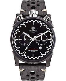 Men's Swiss Chronograph Check Flag Black Leather Strap Watch 44mm