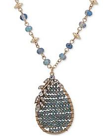 """Gold-Tone Pavé & Bead Pendant Necklace, 34"""" + 3"""" extender"""