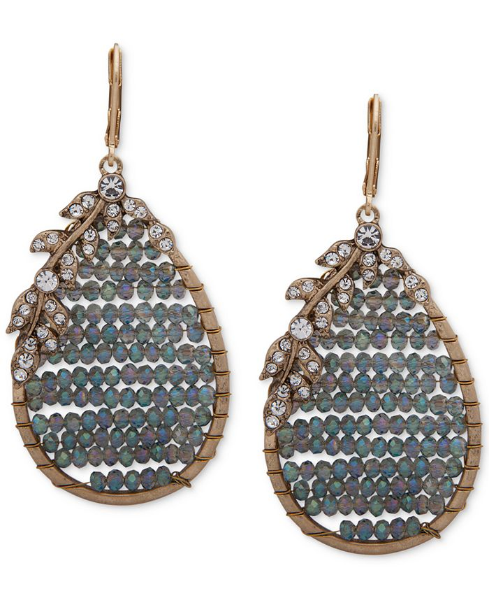 lonna & lilly - Gold-Tone Floral & Beaded Teardrop Earrings