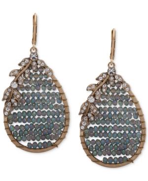 Gold-Tone Floral & Beaded Teardrop Earrings