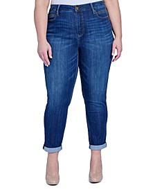 Trendy Plus Size Tummyless Rolled-Hem Skinny Jeans