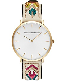 Women's Major Embroidered Leather Strap Watch 40mm