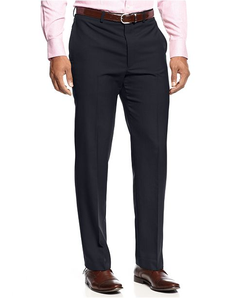 Lauren Ralph Lauren Solid Wool-Blend Flat-Front Dress Pants