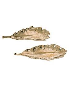 Dolomite Gold Harvest Leaf Plate - Set of 2