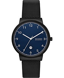Men's Ancher Black Stainless Steel Mesh Bracelet Watch 40mm