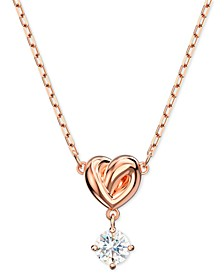 "Heart Knot & Crystal Pendant Necklace, 14-7/8"" + 2"" extender"