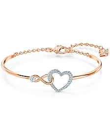 Two-Tone Crystal Heart & Infinity Symbol Bangle Bracelet
