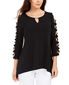 Handkerchief-Hem Ladder-Sleeve Knit Top, Created for Macy's