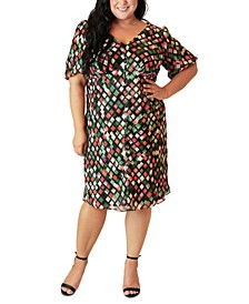 Plus Size Split-Front Peasant Dress