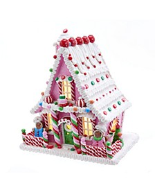 10-Inch Pink Battery-Operated Candy LED Gingerbread House Table Piece
