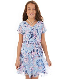 Big Girls Flutter-Sleeve Wrap Necklace Dress