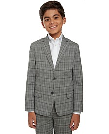 Big Boys Stretch Windowpane Plaid Suit Jacket