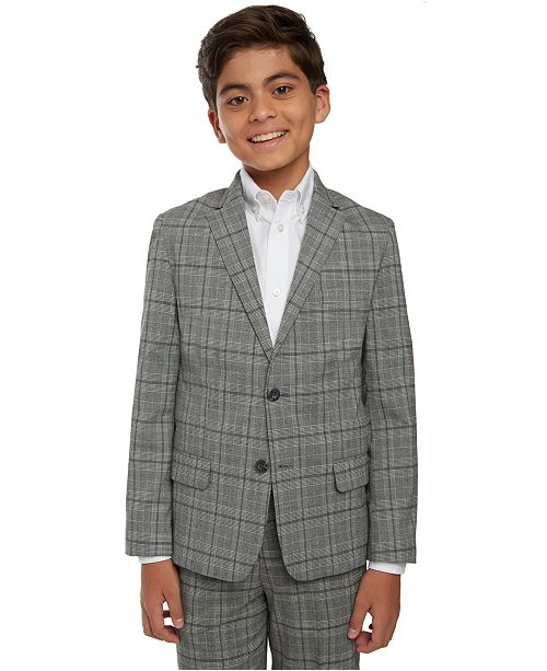 Tommy Hilfiger Big Boys Stretch Windowpane Plaid Suit Jacket