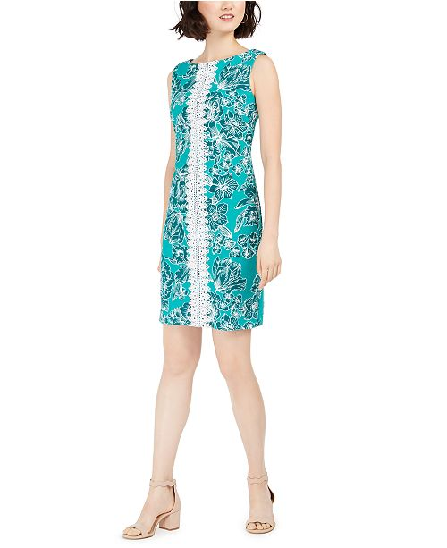Pappagallo Lace-Trim Printed Sheath Dress
