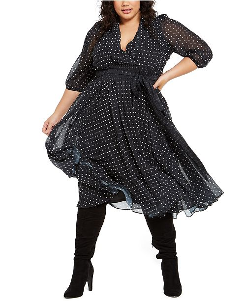 NY Collection Plus Size Dot-Print Belted Dress