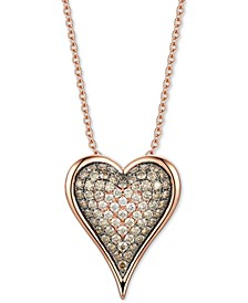 "Chocolate Diamond Ombré Heart 18"" Pendant Necklace (1-1/2 ct. t.w.) in 14k Rose Gold"
