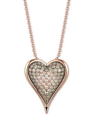 """Chocolate Diamond Ombre Heart 18"""" Pendant Necklace (1-1/2 ct. t.w.) in 14k Rose Gold"""