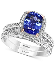 EFFY® Tanzanite (1-7/8 ct. t.w.) & Diamond (3/4 ct. t.w.) Ring in 14k White Gold & Rose Gold
