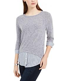 Juniors' Striped Faux-Layered Cuffed Sweater