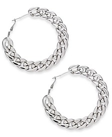 "Silver-Tone Extra-Large Chain Link Hoop Earrings, 3.2"" Created for Macy's"