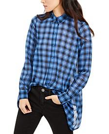 Plaid Handkerchief-Hem Button-Up Shirt