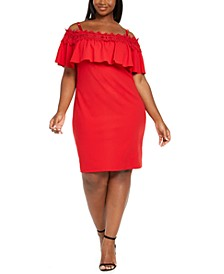 Trendy Plus Size Crochet Off-The-Shoulder Bodycon Dress