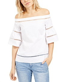 Crochet Eyelet-Trim Top