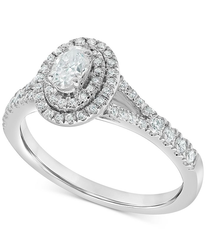 Macy's - Diamond Oval Double Halo Engagement Ring (3/4 ct. t.w.) in 14k White Gold