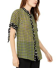 Mixed Tartan Button-Up Shirt