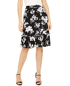 Tropical Shadow Floral Flounce Skirt