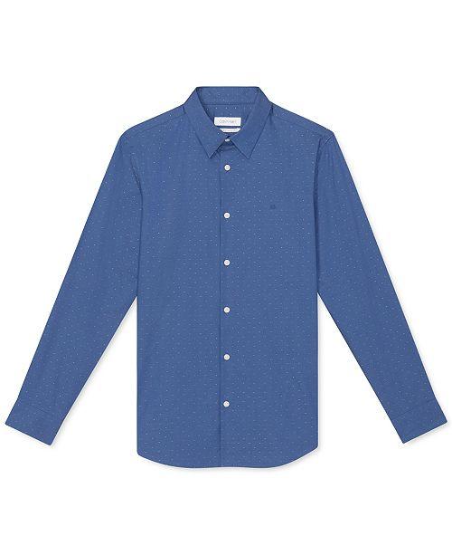 Calvin Klein Men's Regular-Fit Stretch Textured Dot Dobby Shirt
