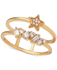 Swarovski Crystal Celestial Double Band Statement Ring in Gold-Plated Brass