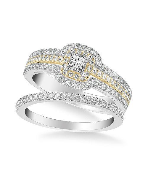 Macy's Diamond Princess Bridal Set (7/8 ct. t.w.) in 14k Two Tone White & Yellow Gold or White & Rose Gold