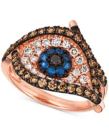 Blueberry Sapphire (1/6 ct. t.w.) & Diamond (1 ct. t.w.) Evil Eye Ring in 14k Rose Gold