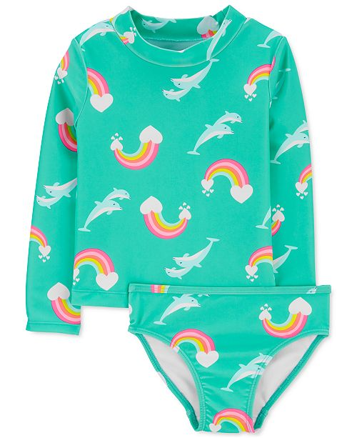 Carter's Toddler Girls 2-Pc. Printed Rash Guard Swim Set
