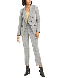 Plaid Jacket, Bell-Sleeve Top & Plaid Straight-Leg Pants, Created For Macy's