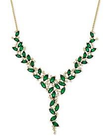 "Emerald (11-5/8 ct. t.w.) & Diamond (1/2 ct. t.w.) 16"" Statement Necklace in 14k Gold (Also in Sapphire & Certified Ruby)"