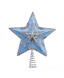 13.5-Inch Pale Blue and Silver Star Treetop