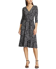 Petite Floral Jersey Surplice Dress
