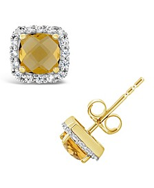 Citrine (1 ct. t.w.) and Created White Sapphire (1/5 ct. t.w.) Halo Stud Earrings in 10k Yellow Gold